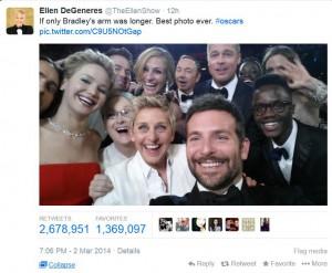 elle selfie från oscars-galan